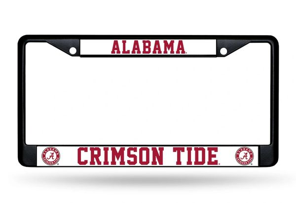 Alabama Crimson Tide BLACK Chrome Metal License Plate Frame NCAA