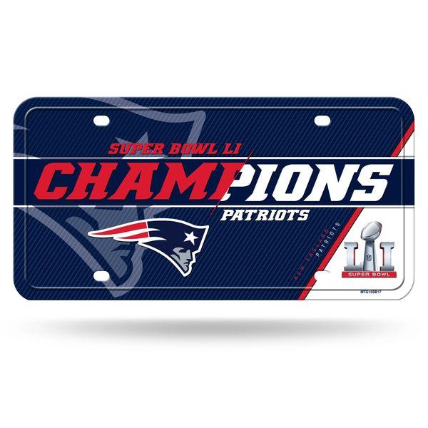 New England Patriots Super Bowl LI Champions Metal License Plate NFL