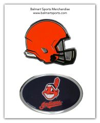Cleveland Browns and Indians Chrome Metal Emblem NFL & MLB Licensed