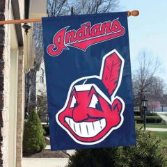 "Cleveland Indians 2 Sided Embroidered Vertical House - Wall Flag 28"" x 44"" MLB"
