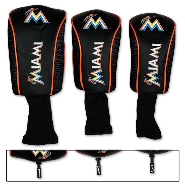 Miami Marlins Golf Club Covers Headcovers 3 pack MLB Licensed