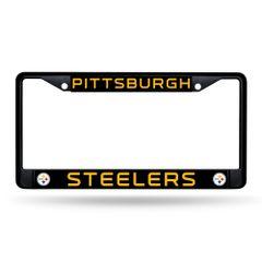 Pittsburgh Steelers BLACK Chrome Metal License Plate Frame NFL Licensed