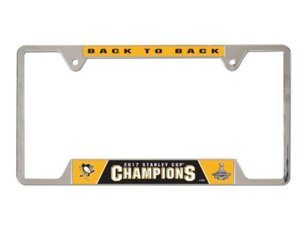"Pittsburgh Penguins ""Back to Back"" Champions Chrome License Plate Frame NHL"