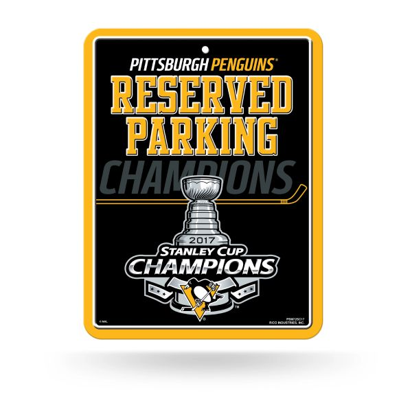 Pittsburgh Penguins 2017 Stanley Cup Champions Metal Reserved Parking Sign NHL