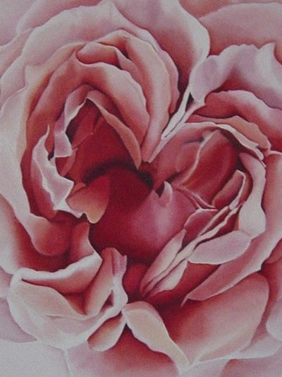 rose painting with heart center