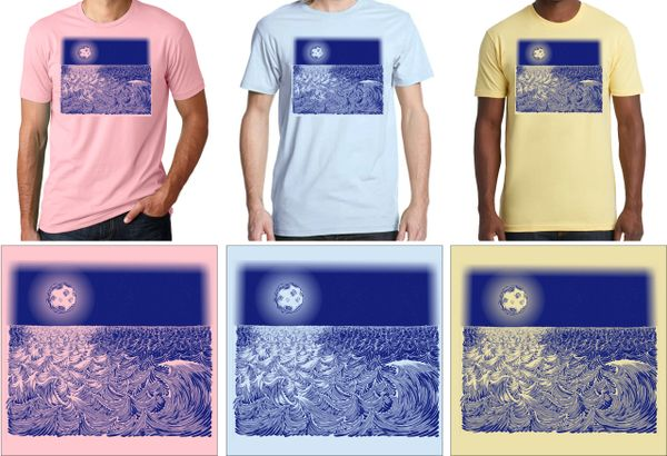 WAVESCAPE 1-COLOR NAVY PRINT T-SHIRT