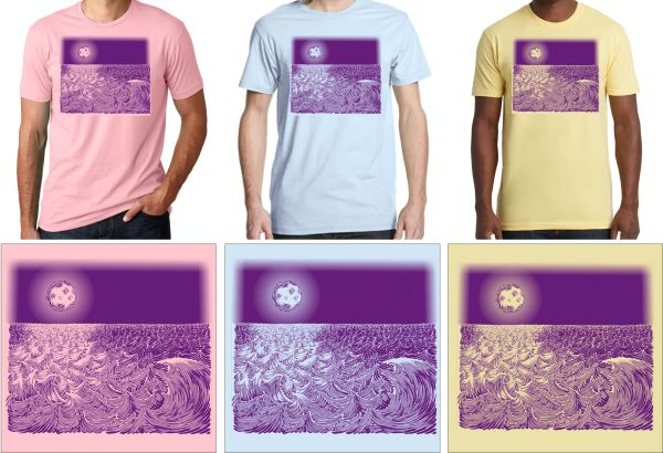 WAVESCAPE 1-COLOR PURPLE PRINT T-SHIRT
