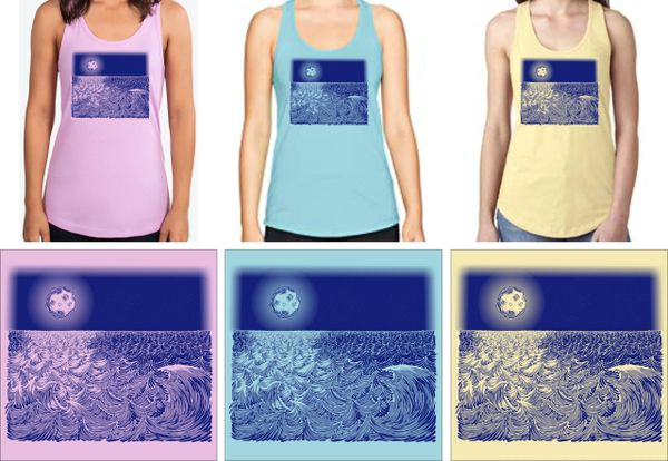 WAVESCAPE 1-COLOR NAVY PRINT LADIES' TANK