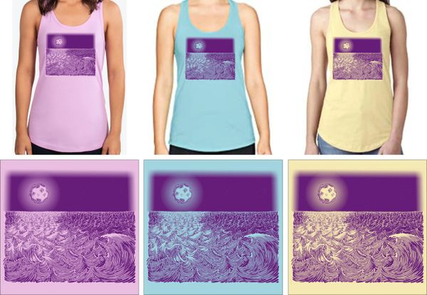 WAVESCAPE 1-COLOR PURPLE PRINT LADIES' TANK