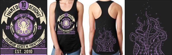 INKED DESIGNS 10 YEAR ANNIVERSARY LADIES' TANK