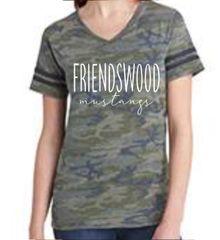 Friendswood Mustangs women's camo v-neck