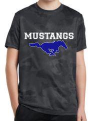 Mustang youth camo dri-fit shirt