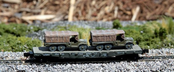 (2) 1 1/2 Ton Cargo Trucks on US Army Transportation Corp Flat Car