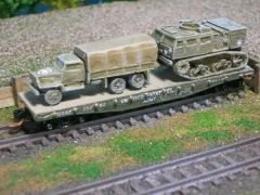 2 1/2 Ton Cargo Truck w/ M4 High Speed Artillery Tractor on US Army Transportation Corp Flat Car