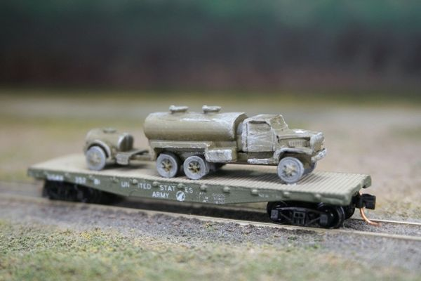 2 1/2 Ton Water Tank Truck w/ Water Buffalo on US Army Transportation Corp Flat Car