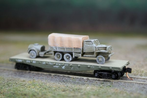2 1/2 Ton Truck w/ Water Buffalo on US Army Transportation Corp Flat Car