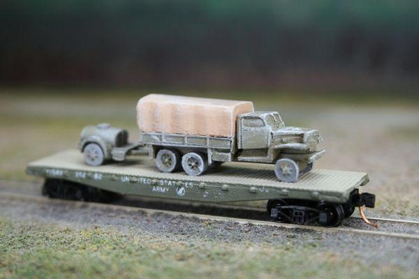 Chevrolet 2 1/2 Ton Truck w/ Water Buffalo on US Army Transportation Corp Flat Car