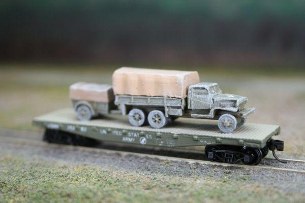 Chevrolet 2 1/2 Ton Truck w/ 1 Ton Trailer on US Army Transportation Corp Flat Car