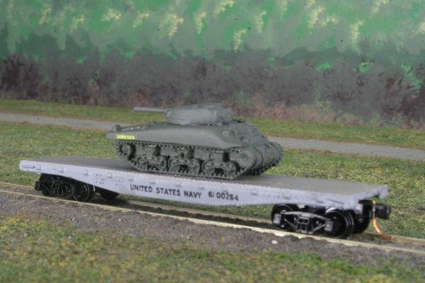 USMC M4 Sherman Medium Tank on US Navy Corp Flat Car