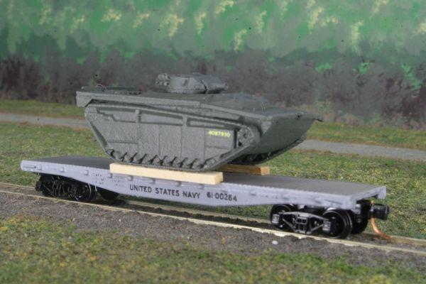 """USMC LVT(A)-4 """"Amtank"""" on 40' US Navy Flatcar"""