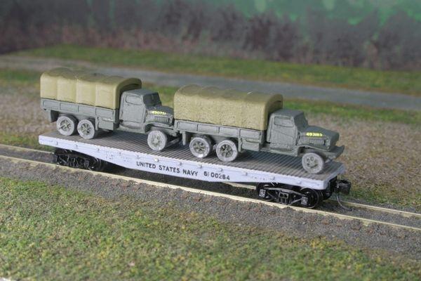 (2) USMC Chevrolet 2 1/2 Ton Cargo Trucks on US Navy Flat Car
