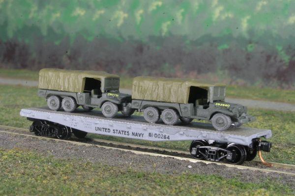 (2) USMC 1 1/2 Ton Cargo Trucks on US Navy Flat Car