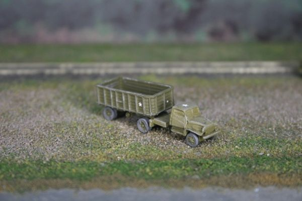 US Army Chevrolet 1 1/2 Ton Semi Tractor and 5 Ton Stake Trailer
