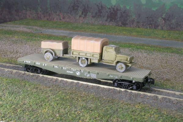 Chevrolet 1 1/2 Ton Truck w/ 1 Ton Trailer on US Army Transportation Corp Flat Car