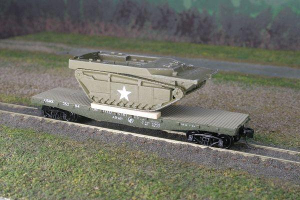 LVT-4 AMTRAC on US Army Transportation Corp Flat Car