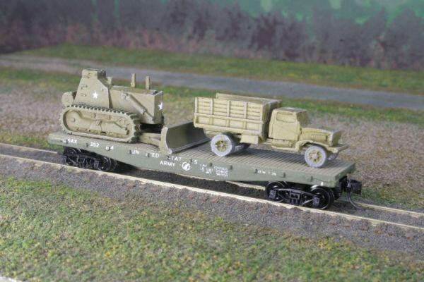 Chevrolet 1 1/2 Ton Dump Truck w/ Combat Bulldozer on US Army Transportation Corps Flatcar