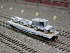 (2) Jeeps and 3/4 Ton Cargo Truck on US Navy Flatcar