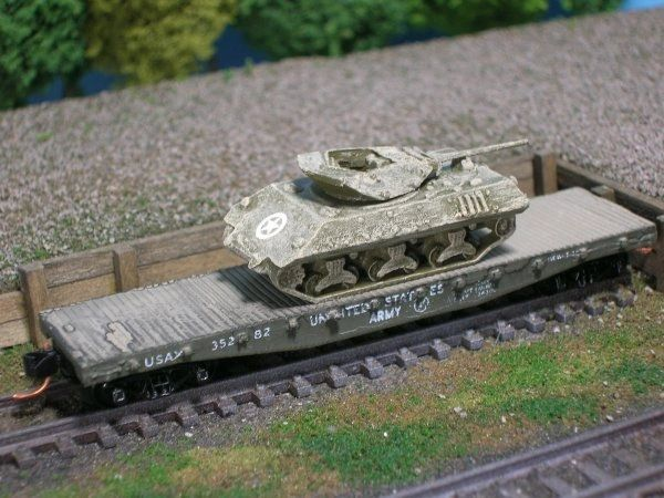 M10 Wolverine Tank Destroyer on US Army Transportation Corp Flat Car