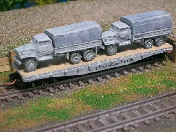 (2) 2 1/2 Ton Cargo Trucks on US Navy Flat Car