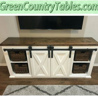 TV stand entertainment center console sideboard barn door cabinet