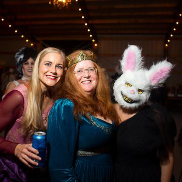 three ladies at a halloween party