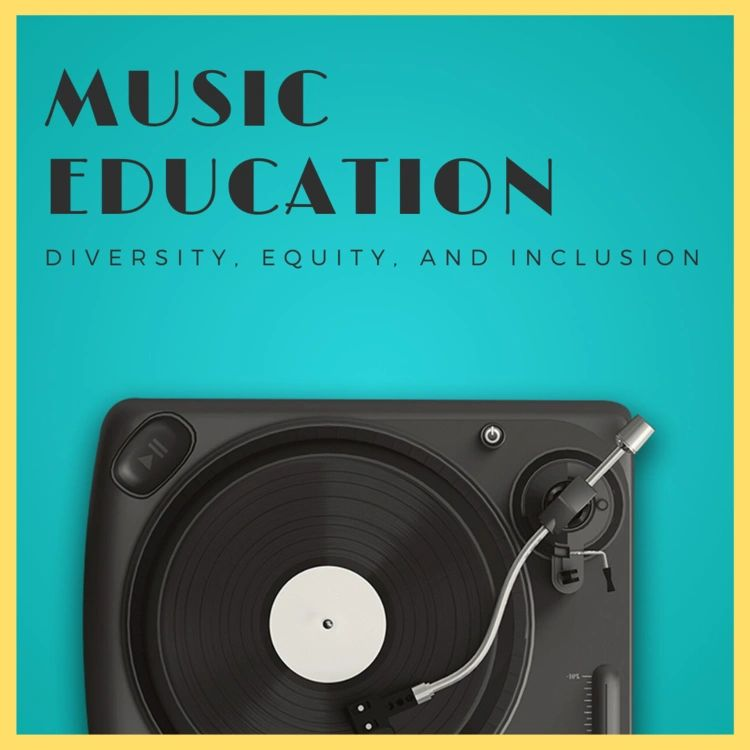 """Record player on teal background with the words """"Music Education: Diversity, Equity, and Inclusion"""" above it"""""""