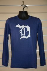 Detroit Michigan D Long Sleeve (Navy Triblend)