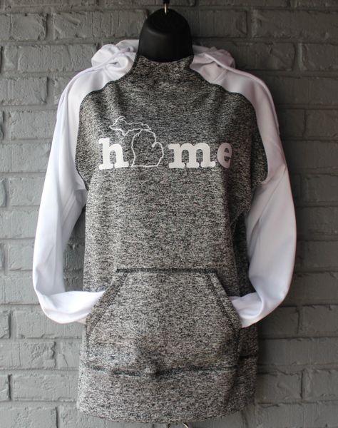Home Michigan Cosmic Hoodie (Charcoal Fleck/White)