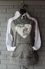 Michigan Heart Cosmic Hoodie (Charcoal Fleck/White)