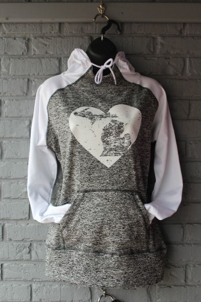 Michigan Heart Cosmic Hoodie (Charcoal Fleck/White)