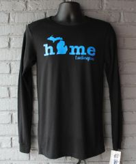 Home Michigan Long Sleeve (Solid Black Triblend)