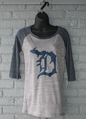 Detroit Michigan D 3/4 Sleeve Tee (Athletic Heather/Navy)
