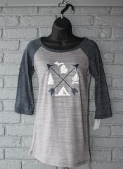 Arrows Michigan 3/4 Sleeve Tee (Athletic Heather/Navy)