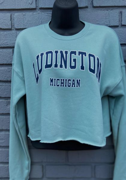 Sage Green Crew Neck Crop Top Ludington Michigan