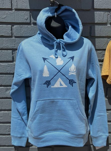 Fleece Hoodie Arrows (Light Blue)