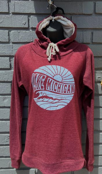 Lightweight Hoodie Lake Michigan Waves (Maroon)