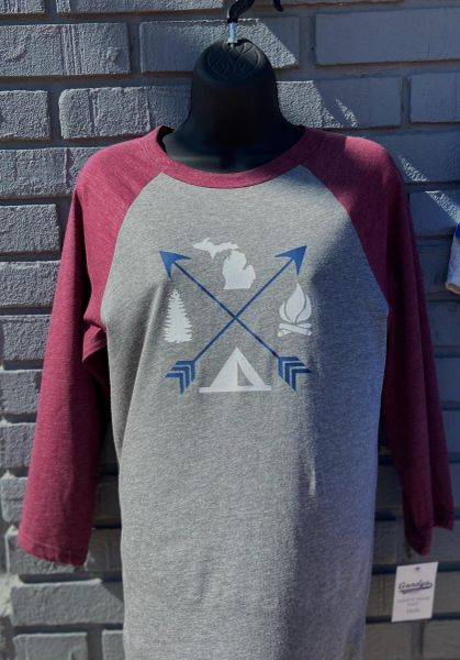 3/4 Sleeve Shirt Arrows (Maroon)