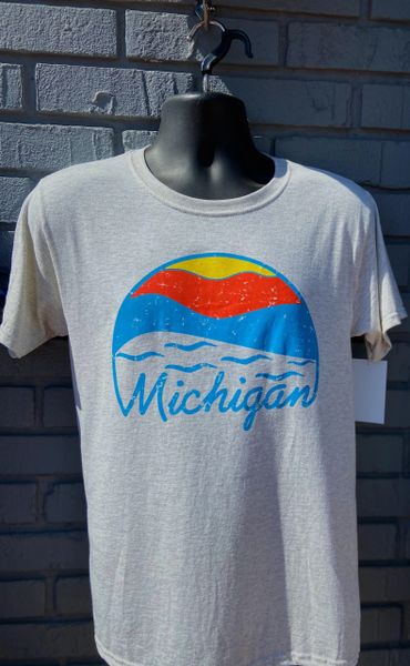 Basic Tee Shirt Michigan Sunset (Oatmeal Fleck)