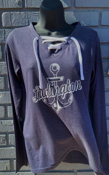 Lace-Up Long Sleeve T-Shirt Ludington Anchor (Navy)