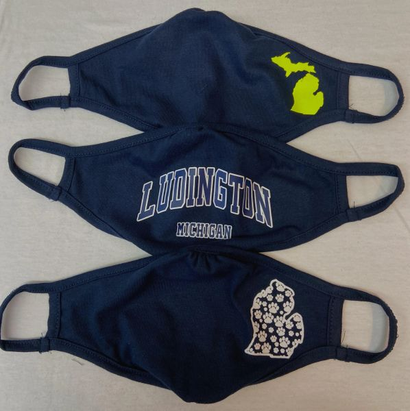 Face Masks Neon Mi, Ludington Mi,Mi Paw Prints (Navy) SOLD INDIVIDUALLY